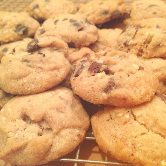 Déjelos enfriar sobre una rejilla para enfriar y ... Voila! Almendra galletas de chocolate ??????