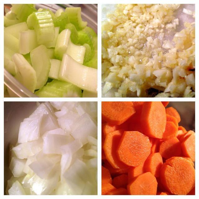 Picar las verduras .... Picar el ajo ...
