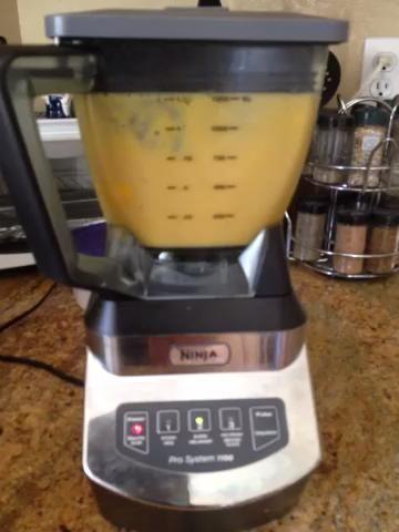 se mezcla en un medio y detener la licuadora tan pronto como los cubos de mango están bien mezclados