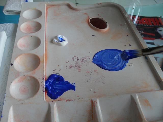 En la paleta usted puede mezclar los colores para conseguir los tonos que desee para el Ombre, pero siempre se puede mezclar en el lienzo.