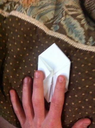 Coloque las solapas sueltas en los pliegues que acaba de hacer. Repita con las cuatro solapas.