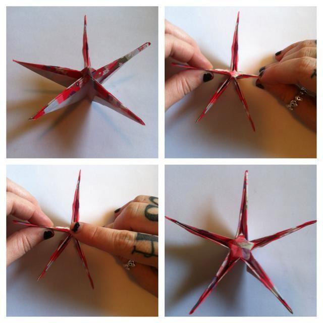 La formación de una estrella flaco. Tire de las extremidades opuestas de hacer una estrella de pop-up ... empujo hacia abajo al mismo tiempo para mantener a la estrella de la rasgadura en el medio.