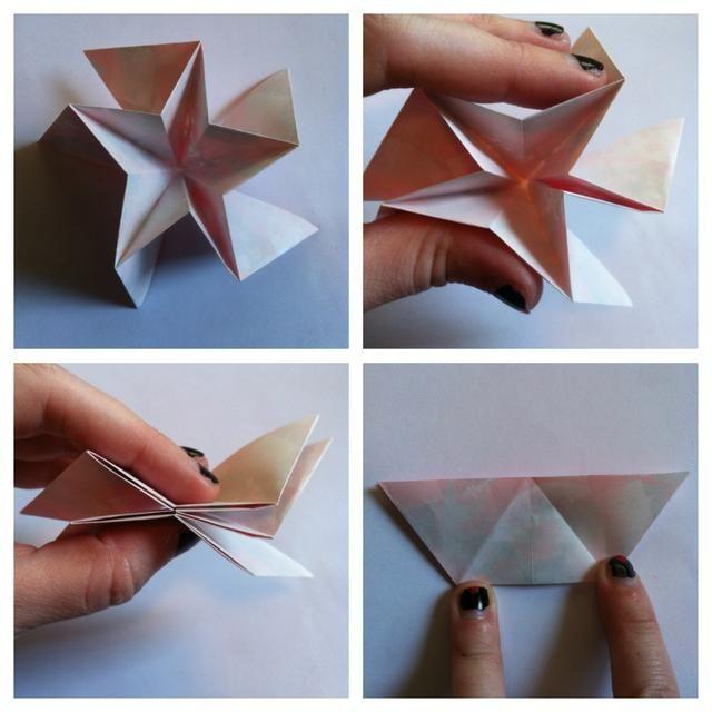 Forma en una estrella (la montaña y valle pliegues que acabas de hacer lo hará por usted) y aplastar plana.