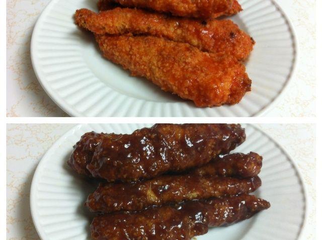 Cómo hacer al horno de barbacoa y Buffalo Chicken Strips Receta