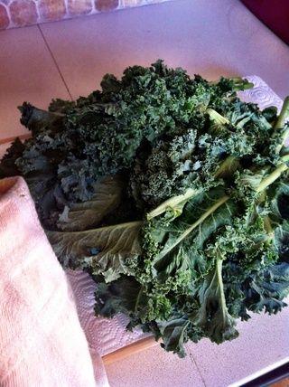 Pat la kale seco (debe estar bien seca antes de proceder al siguiente paso). Seguir adelante y utilizar un spinner ensalada si've got it!