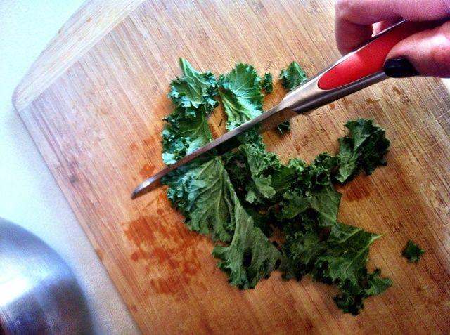 Luego cortar las hojas en trozos de tamaño más pequeño de mordida (no demasiado pequeño, se contraen en el Ovie!)