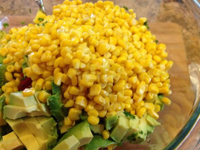 usted're almost done! Add the steamed corn. (In the summer you can grill fresh corn and cut it off the cob. It really adds flavor)