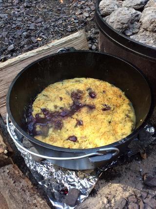 Hecho, el fruto está burbujeando, la torta esté dorada, y se ve delicioso!