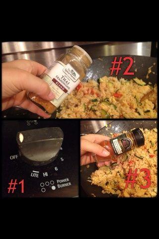 Apague el fuego, poner en un poco más condimento, poner en un poco de pimienta de cayena triturado (opcional), revuelva.