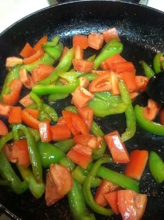 Cuando el pimiento consigue tomate complemento suave