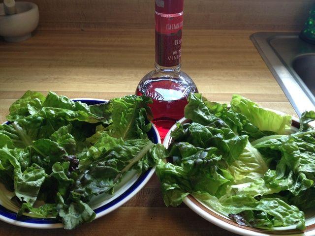 Tazón guarnición o plato con lechuga y espolvorear ligeramente con vinagre de vino tinto