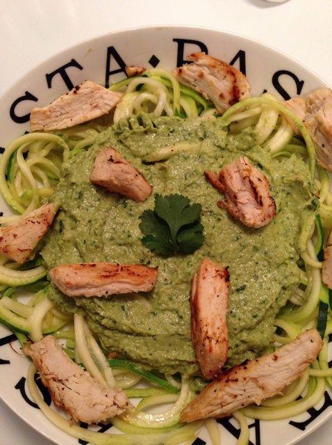 Cómo hacer Cilantro Pesto Aguacate Zoodles W / Lime pollo Receta