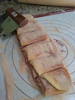 Cortar la pila en seis rebanadas iguales una vez más.