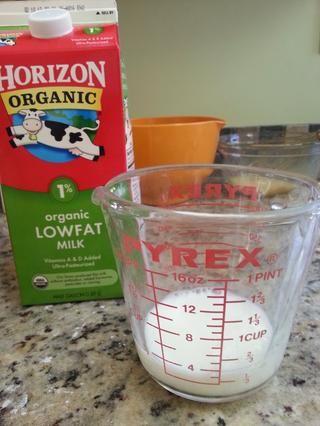 1/3 taza de leche (leche entera en la receta pero utilizado lo que tenía)
