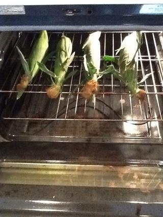 Lugar de maíz en el horno, todavía envuelto en hojas. No se necesita nada más. Sí, al igual que este! ¡Tan fácil! Hornear durante 25 minutos.
