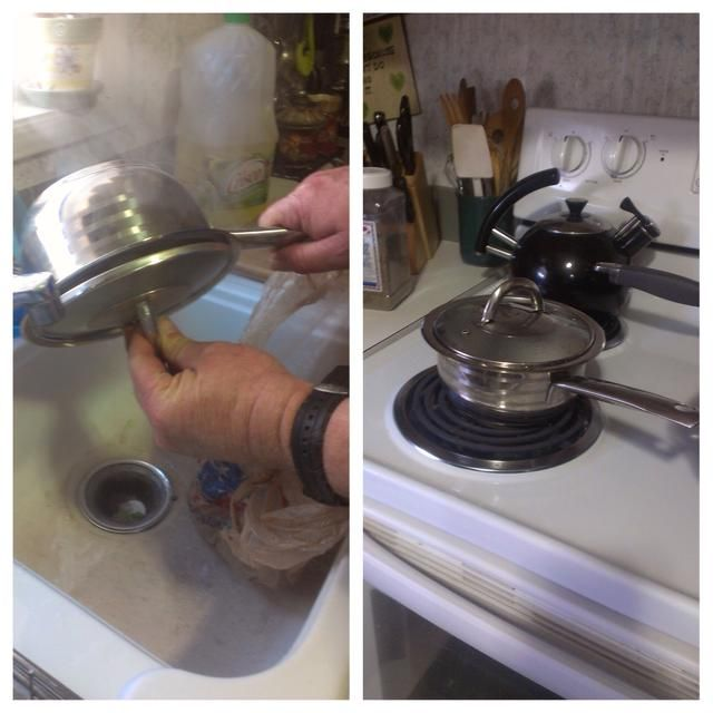 Cuando se hacen los huevos de verter el agua, tapar y poner de nuevo en la estufa a por unos minutos