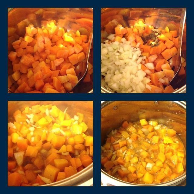 Squash en la olla con la mezcla de caldo, la cebolla. Añadir el curry en polvo y especias ahora. Cocine hasta que estén tiernos.
