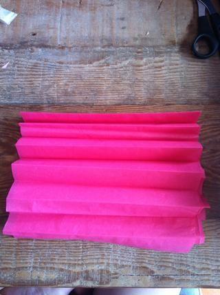 Doblar los pliegues de acordeón, (como la forma en que usted doblar un abanico de papel) asegurándose de pliegue cada pliegue.
