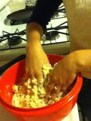 Mezclar con la guinda (alrededor de 3 / 4ths de una bañera para una caja de mezcla para pastel)