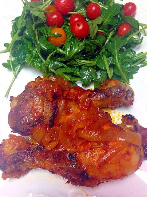 Cómo hacer Cenas fáciles: Horno Pollo Asado y rúcula Ensalada Receta