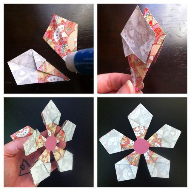 También puede pegarlas espalda con espalda para una decoración más completa como se muestra. O bien, puede aumentar el tamaño de cada grupo de 5-6 plazas. Esto hará que la flor agradable situado junto completo. Más ideas?