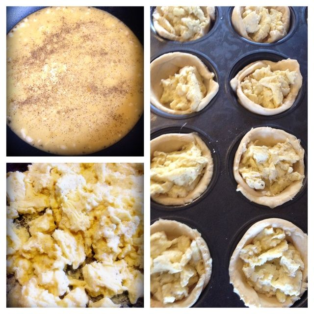 Cocine los huevos a fuego medio. Añadir sal y pimienta. Cocine los huevos hasta que estén establecidos, todavía un poco nasal. Divide huevos uniformemente en rollos de media luna.