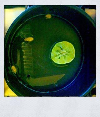 Añadir el agua en una cacerola con el azúcar, la pimienta y el cardamomo negro agrietada y ahora exprimir el jugo de toda la cal, pero sólo añadir una media a la mezcla.
