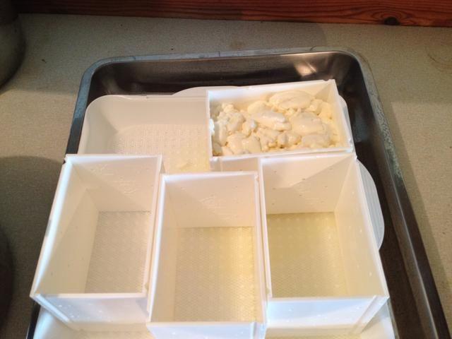 Cuele el queso del suero usando el skimmer o un colador esterilizado. Vierta el queso en los moldes y dejar reposar durante 24 horas. Vierta el suero fuera y girar de vez en cuando, en un principio a menudo.