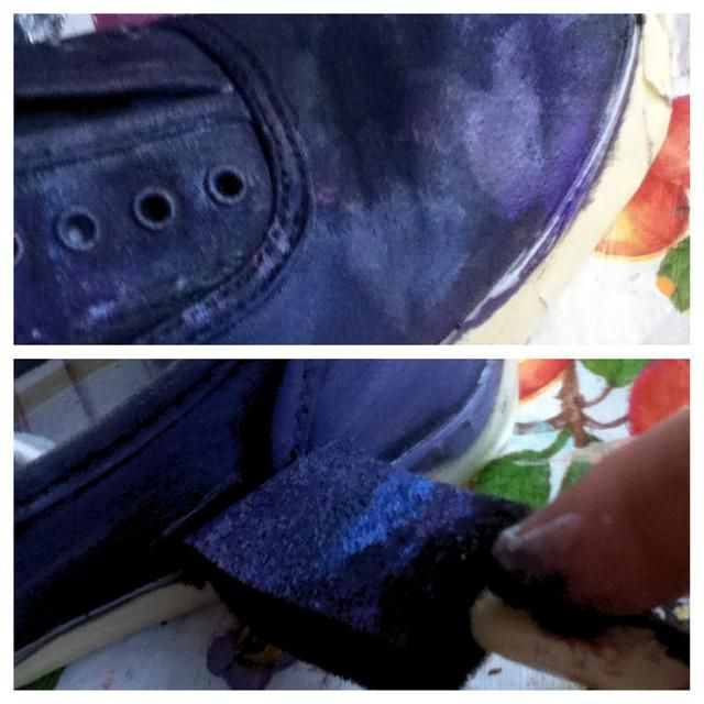 Después de usted've painted your whole shoe, start sponging on some lighter colors on top of what you've already done. I used white, light blue, and reddish pink! Now is a good time to add glitter.