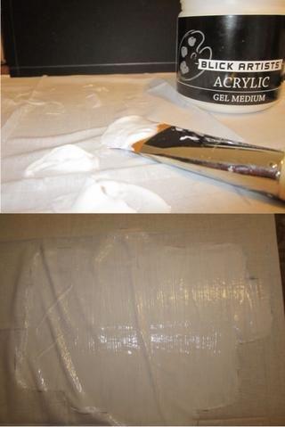 Cuidadosamente Aplicar medio de gel sobre la tela. 2 to3 abrigos son ideales.