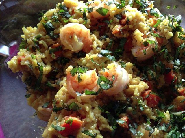 Cómo hacer sin gluten al curry y arroz Receta Camarones
