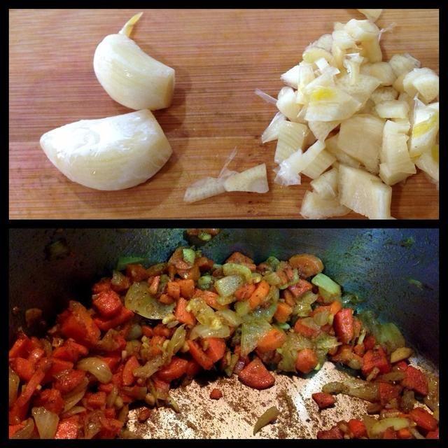 Agregue el ajo y curry en polvo. Mantenga un ojo en esta parte - que desea conservar las verduras que se mueven en esa sartén durante 4-5 minutos. El aroma de curry realmente comenzar a florecer. Y el ajo - ah, mmm.