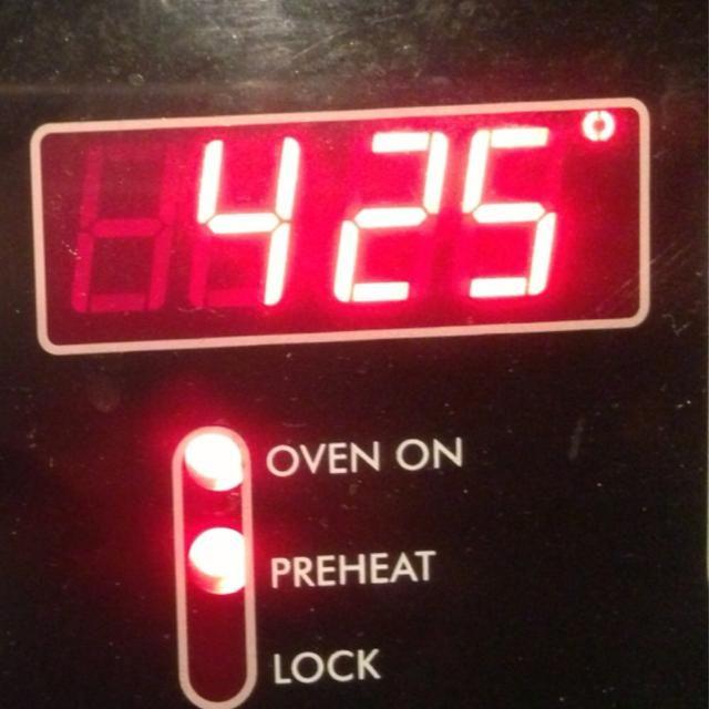 Precaliente el sobre a 425 grados.