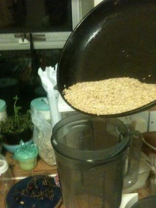 Ponga las semillas en la licuadora.