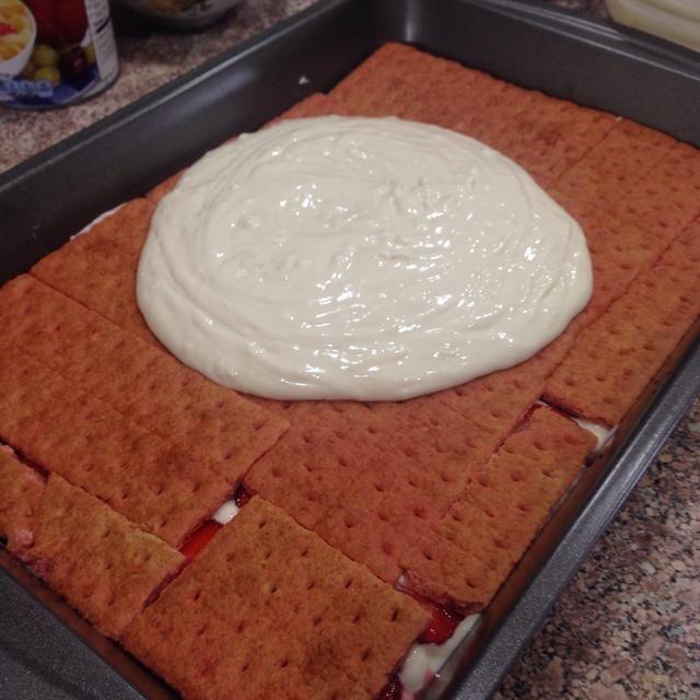Y añadir el resto de la mezcla de crema.