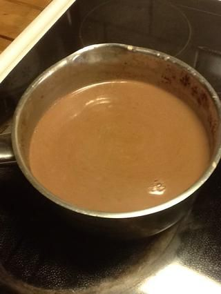 Ahora's boiled and I've added cocoa powder and sugar