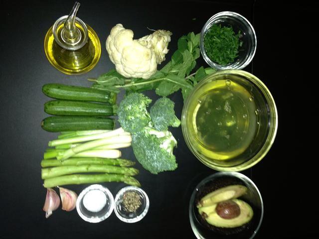 Ingredientes verdes que tenían a la mano. Pero, por favor consulte la lista de suministros. La mezcla sugerido dar sabores mágicos.
