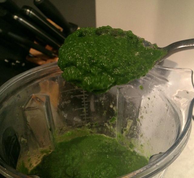 Por lo tanto, esto es lo que se ve gustos como ahora ... Esto es sólo verduras + caldo y especias mezcladas durante aproximadamente 1 minuto. Puedes dejarlo así, o agregar las semillas / frutos secos ahora. (ver video 3)