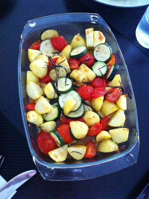 Cómo hacer la parrilla verduras (Calabacines-patatas-tomates) Receta