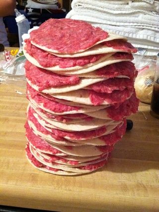 aquí's the stack of prepped tacos.