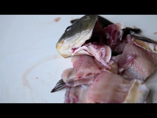 Cortar los peces que quedan en filetes ...