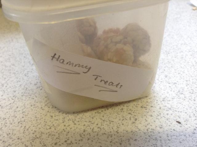 Almacenar en un recipiente hermético, y alimentar a su hámster, no a menudo, aunque!