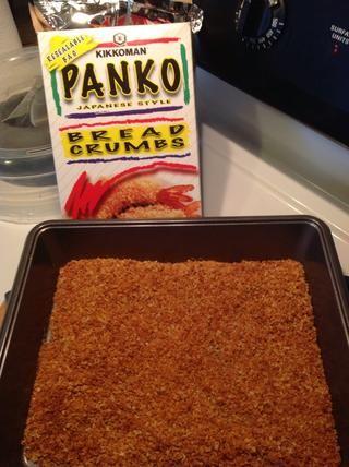 Horneado sus migas de pan Panko durante 6 minutos @ 400 grados o hasta que estén doradas.