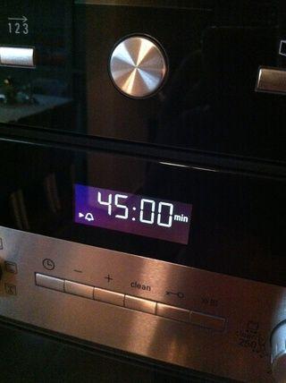45 minutos en el reloj del horno