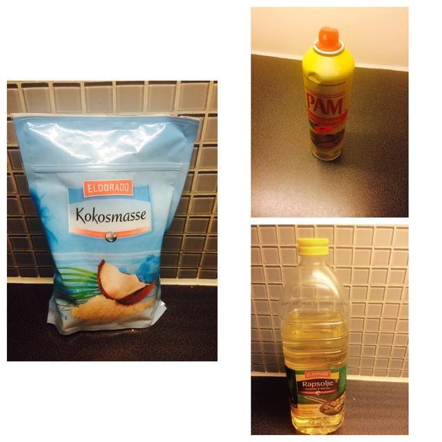 Ingredientes continuaron: el aceite de canola, rallado (sin azúcar) de coco, aceite en aerosol