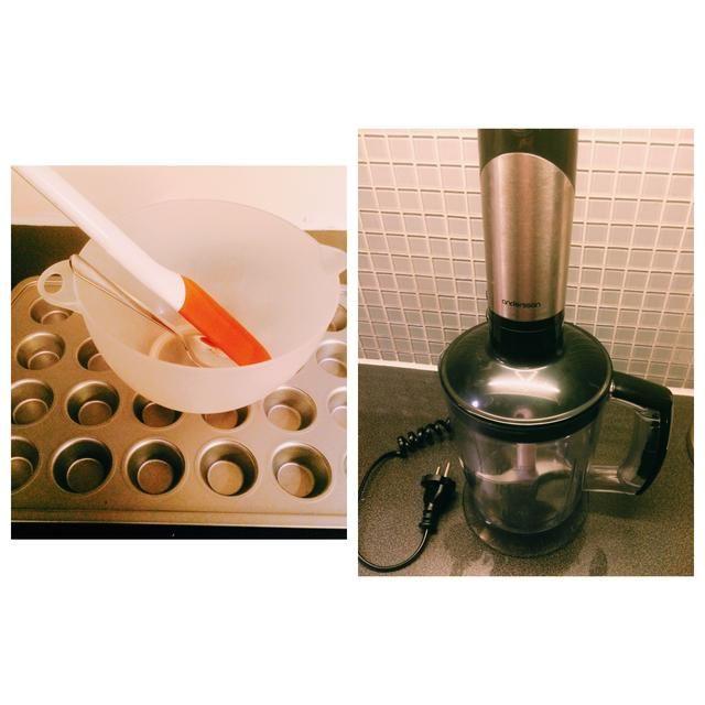 Herramientas: tazón, espátula, midiendo jarra (yo usé mi licuadora como un jarro de medición esta vez), bandeja de muffin, cucharada.
