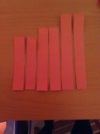 Ahora que 4 de las tiras más pequeñas utilizando las líneas que ha realizado antes.