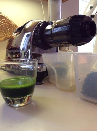 Haga por lo menos 4 cucharadas pena de jugo verde fresco. Use lo que tenga a mano. Esta vez fue la espinaca y la col rizada (4 hojas pequeñas Lacinato Kale y 2 o 3 puñados de espinacas).