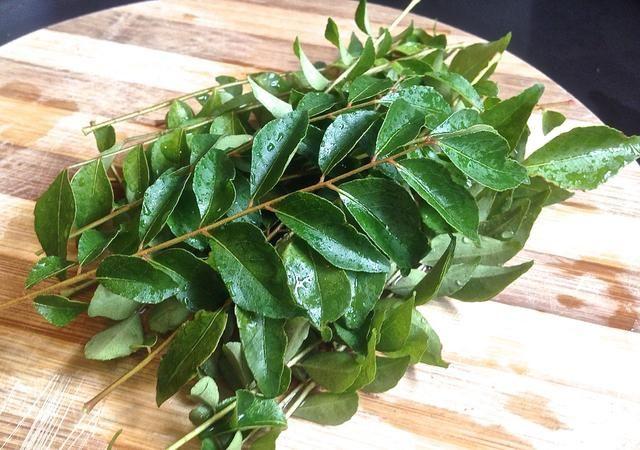 Lave y enjuague un puñado de hojas de curry.