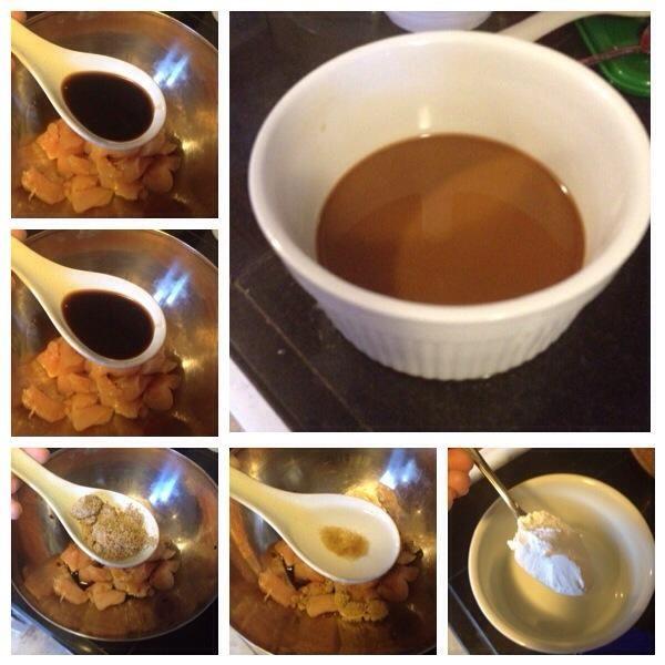Preparar la salsa, la salsa de soja mezclados vino de arroz, azúcar moreno, almidón de maíz con agua y vinagre blanco.